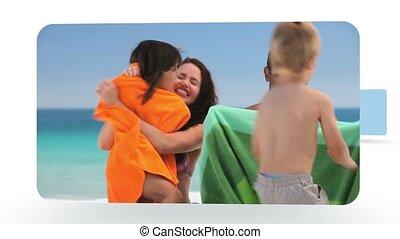 montage, amusement, plage, familles, avoir