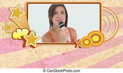 montage, apprécier, karaoke, gens