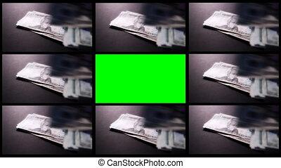 montage, argent, deux, vert, écran