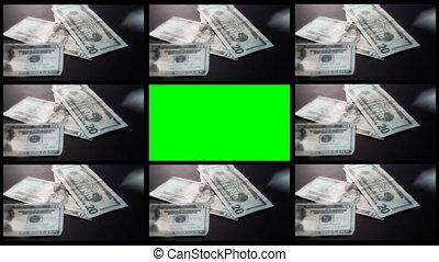 montage, argent, tomber, vert, écran