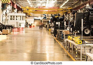 montage, atelier, à, grand, usine industrielle, intérieur