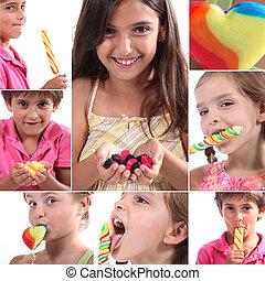 montage, av, äta för barn, karamell