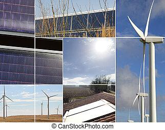 montage, av, förnybar energi, upphov