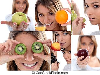montage, av, kvinna räcka, olika, frukter