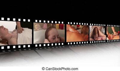 montage, beeldmateriaal, ontspanning, spa, hd