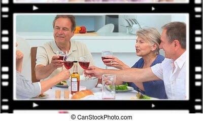 montage, boire, gens, vin