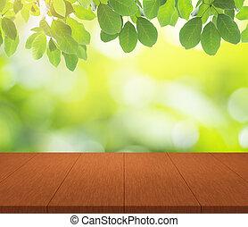 montage, bovenzijde, display, bokeh, hout producten, achtergrond, tafel, groene, jouw