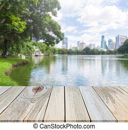montage, bovenzijde, park, display, hout producten, achtergrond, verdoezelen, tafel, jouw