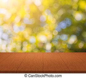 montage, bovenzijde, zonlicht, bokeh, hout, achtergrond, tafel, glanzend, display