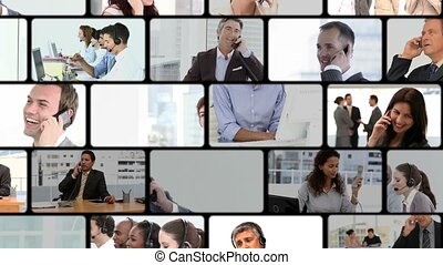 montage, business, appelle