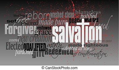 montage, chrétien, salut, mot