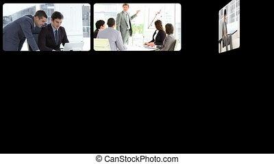 montage, confiant, hommes affaires