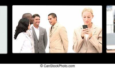 montage, conversation, divers, gens