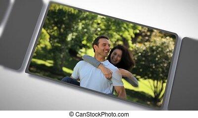 montage, couple, romantique, dehors