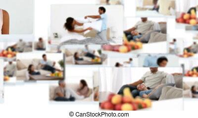 montage, couples, joyeux, délassant