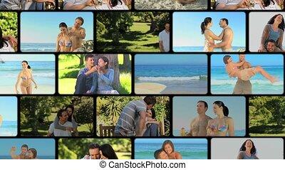 montage, couples, partage, moments