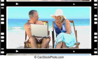montage, couples, personne agee, délassant, dehors