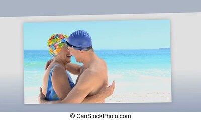 montage, couples, personne agee, ensemble