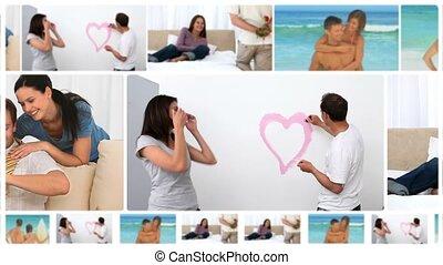 montage, couples, plusieurs, heureux, situations