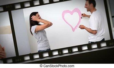 montage, couples, plusieurs, maison, situations