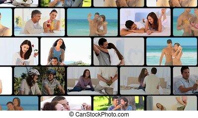 montage, couples, plusieurs, situa