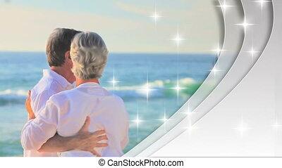 montage, couples, retiré, amour