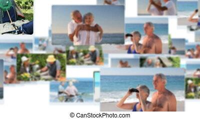 montage, couples, sp, retiré, heureux