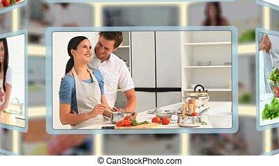 montage, cuisine, gens