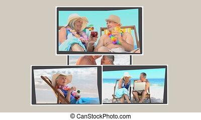 montage, délassant, couples mûrs