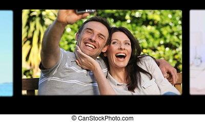 montage, dépenser, mignon, couples, sp
