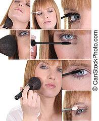 montage, de, a, femme, application maquillage