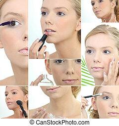 montage, de, a, jeune femme, application maquillage