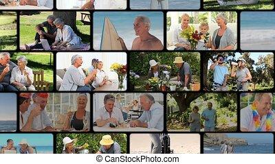 montage, de, actif, personnes agées, couples