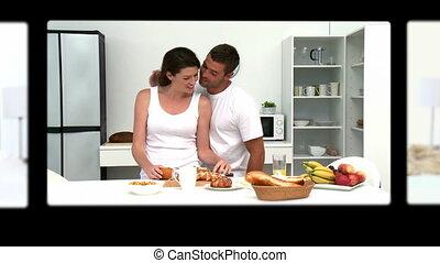 montage, de, agréable, couples