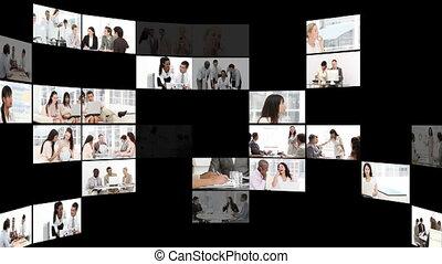 montage, de, confiant, businesspeople