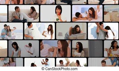 montage, de, couples, étreindre