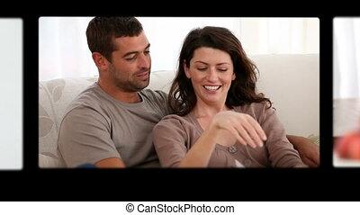 montage, de, couples heureux