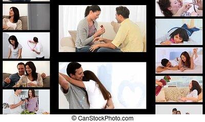 montage, de, couples, partage, romantique