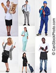 montage, de, divers, professions