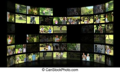 montage, de, familles, apprécier, été, moments, ensemble, dans, a, parc