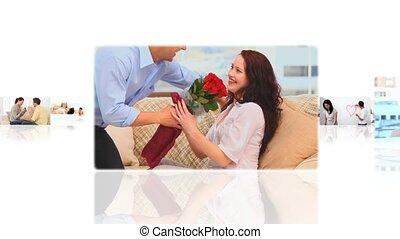 montage, de, mignon, couples, dépenser, temps, ensemble,...