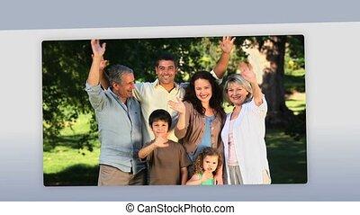 montage, dehors, familles
