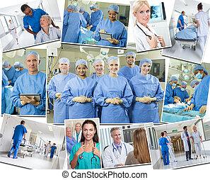 montage, doktoren, klinikum, medizin, krankenschwestern, &