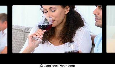 montage, drinkende wijn, mensen