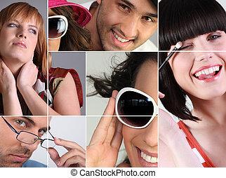 montage, eye-wear, het tonen, variëteit