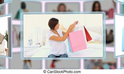 montage, familien, momente, genießen, paare, hause einkäufe...