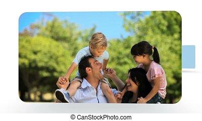 montage, familles, amusement, avoir