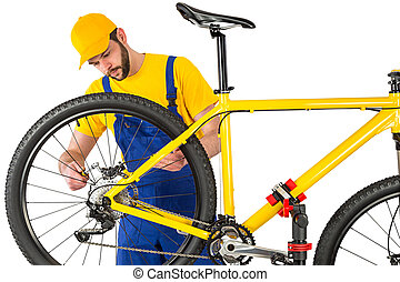 montage, fiets rem, werktuigkundige