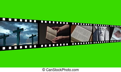 montage, filmmeter, religiöses
