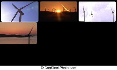 Montage footage of wind turbines